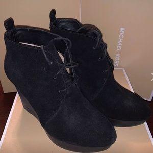 Michael Kors Black Suede Pierce Lace Up Wedge Boot